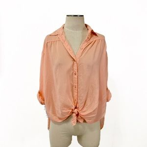 Express Outlet- Sheer Peach Stripe Tie Front Shirt